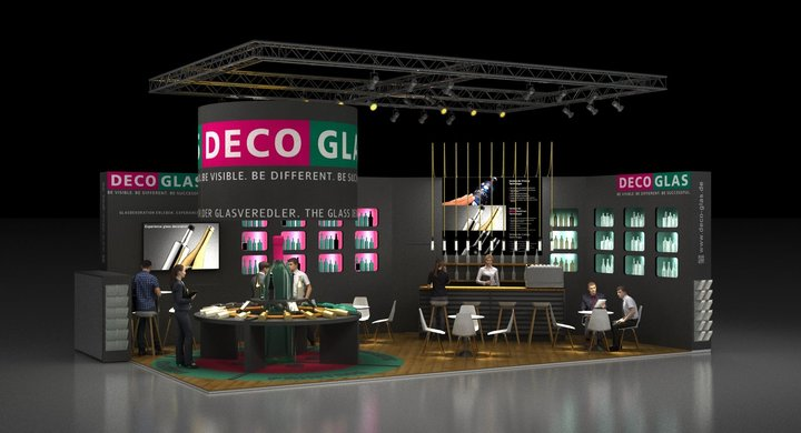 Messestand Rendering DecoGlas Prowein
